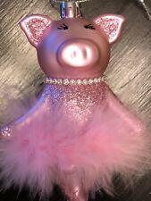 Pink Pig ballerina Christmas Ornament in marabou tutu Glitter