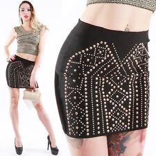 Gold Nieten Mini Rock Stretch Skirt Bleistift Rock sexy party jupe hot