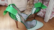 Faith Green Polka Dot High Heel Ribbon Bow Stilletos