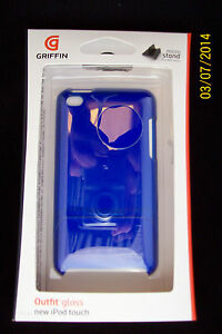 Griffin Apple iPod Touch 4th gen Outfit Hard Case Gloss Blue Micro Stand GB01968