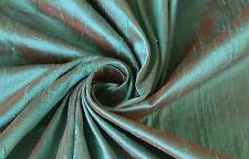 Robin's Egg Blue Red Orange iridescent 100% Dupioni Silk Fabric Yardage Sew