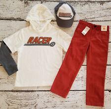 "Gymboree ""Ace Driver"" Racer Hooded Tee, Orange Pants, Baseball Hat 6 7 New Nwt"