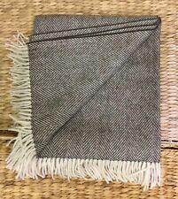 Soft Pure Wool Fringed Throw/Blanket,Dark Multi/ Cream Herringbone UK WOVEN.