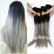 "10"" Ombre 1b/Grey Brazilian Straight Human Hair Bundles Two Tone Hair Extensions"