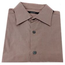 Alfani 100% Cotton Dress Shirt Griffin Hairline Stripes Dark Rose Classic Fit M