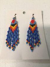 Native American Navajo Beaded Dangle Earrings Lucille Romone Light Blue Wow #1