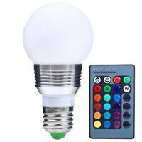 LED RGB E 27 Lampe groß 3 W mit Fernbedienung Farben wählbar Leuchtmittel