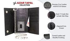 RFID Blocking 212 Black Biker Mens Leather Long Trifold Chain Wallet Checkbook