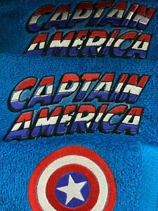 3 Piece CAPTAIN AMERICA Towel Set FREE PERSONALIZATION on Bath and Hand Towel!!