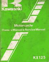 1982 KAWASAKI MOTORCYCLE KX125 OWNER'S SERVICE MANUAL P/N 99920-1164-01 (578)