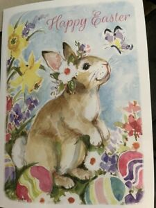 """""""Happy Easter"""" Card- With Cute Cartoon Bunny in flowery field with Easter Eggs"""