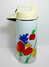 Vintage Air Pot Beverage Dispenser 1.90 Liter White Floral Everest Vacuum Bottle