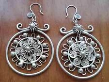 Tibet minority Jewelry Miao silver flower shape earrings pair