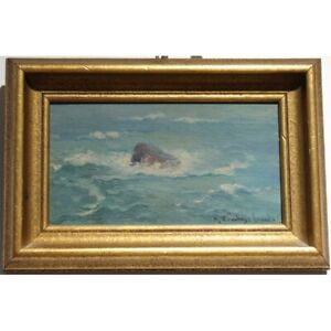 Antique 19th swiss Original Rocher in the Waves Oil wood Painting signed