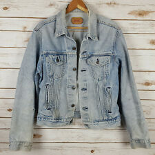Vintage Levis Denim Jeans Trucker Jacket 46L M Heavily Distressed Made in USA