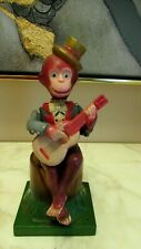 """Vintage Celluloid Toy Wind Up Monkey Playing Guitar Japan 8"""""""