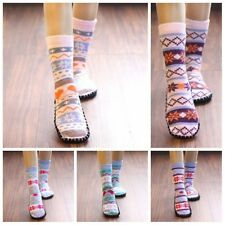 1 Pair Women Slipper Socks Knitted Non Slip Indoor Booties Shoes Random Color
