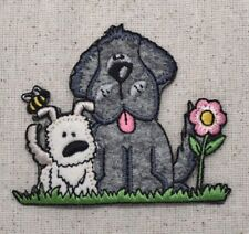Two Puppy Dogs - Bee/Daisy/Flower/Puppies - Iron on Applique/Embroidered Patch