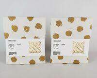 "(Lot of 2) Ikea Skaggort Pillow Cushion Cover 20"" x 20"" White/Gold Polka Dot"