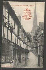 Postcard Ledbury Herefordshire early Old Houses and Church with Crest by Tilley