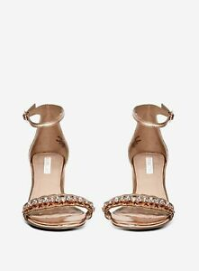 Dorothy Perkins Womens Showcase Rose Gold Solang Heel Sandals Open Toe Shoes