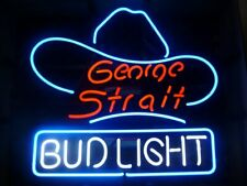 """New Bud George Strait Hat Neon Light Sign 17""""x14"""" Beer Bar Gift Real Glass"""