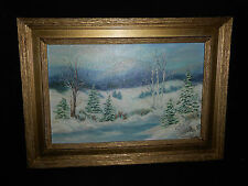 Oil Painting on Canvas of Winter Scene Signed Janet Jones 84 Molded Frame Gold