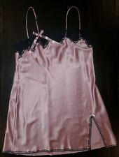 Vintage Victoria Secret Pink Satin Lace Slip Babydoll Nightgown Lingerie Large