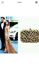 Nwt Olivia Palermo Zara Sequined Clutch Yellow White Black Suede