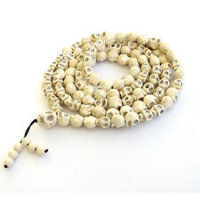 Howlite Turquoise Skull Buddhist Mala Necklace 108 Prayer Beads Bracelet