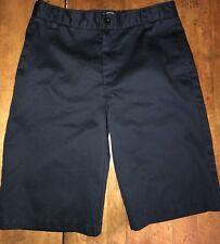 Lands End School Uniform Flat Front Shorts Sz 18S (14/15 Yrs) Navy Adjust Waist