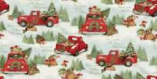 Home for Christmas Red Truck 100% cotton fabric by the yard 36 x 44 - 69123A