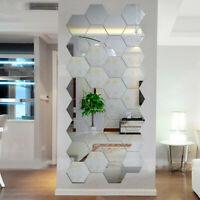 AU_ 12Pcs Mirror Removable 3D Wall Sticker Art Vinyl Mural Decor DIY Decal Home
