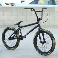 "FIT BIKE CO BMX STR 20"" BLACK BICYCLE w/ GREEN CAMO CULT VANS TIRE + 4 pegs"