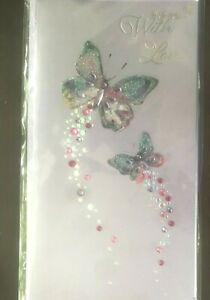 Papyrus Mother's Day card -Gemmed Rhinestone Butterflies With Love Gems Glitter