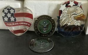 Joan Baker Suncatchers God Bless America, Army (2) Eagle