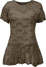 Womens Top Lace Flared Sleeve Tunic Size Frill Short Peplum Plus Pattern Floral Mocha UK 18