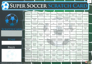 A3 100 NAMED FOOTBALL SCRATCH + MATCH CARD TEAM NAMES FUNDRAISING CHARITY EVENTS