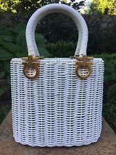 Vintage SALVATORE FERRAGAMO Woven Wicker Gancini Hard Purse Basket Weave V13661