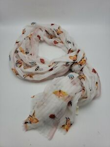 """$34.50  Butterflies Loft Scarf polyester  75"""" X 26.5"""" with defect c27"""