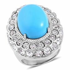 BLUE HOWLITE WHITE AUSTRIAN CRYSTAL STATEMENT RING SIZE 10 TCW 20.000 HUGE