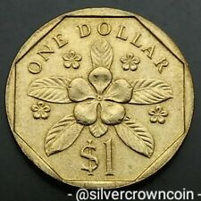 Singapore 1 Dollar 1988. KM#54b. Periwinkle Flower. Singapura.