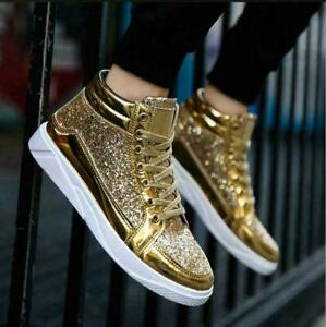 Punk Men Shoes Patent Leather Nightclub Boots High-top Rhinestone Retro Trendy