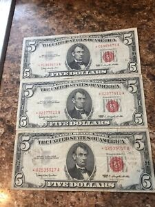 3 $5 Red Seal 1963 Star Notes
