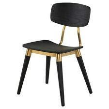 """20.5"""" W Set of 2 Dining Chair Modern Classic Black Solid Oak Wood Brass Accents"""