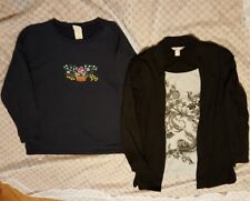 Pair of Women's L/S Shirts-Size Large-Navy & Black/Gray