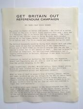 "Very Rare: ""Get Britain Out"" Campaign 1975 BREXIT Referendum - Food Dearer"