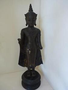 """Ayutthaya Ayudhya Period Bronze 13"""" Standing Buddha Statue 16th Century Auth."""