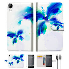 Blue Butterfly Wallet TPU Case Cover For HTC Desire 825 -- A009