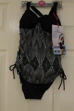 Nylon One-Piece Striped Swimwear for Women